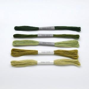 草木染めかがり糸 緑系_グラデーションセット