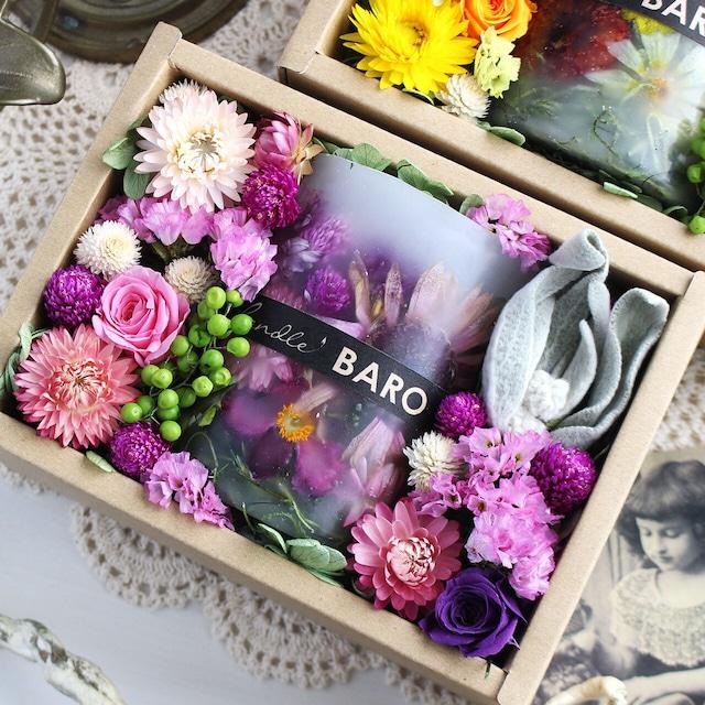 H582 透明ラッピング&紙袋付き☆ボタニカルキャンドルギフト ガーデン
