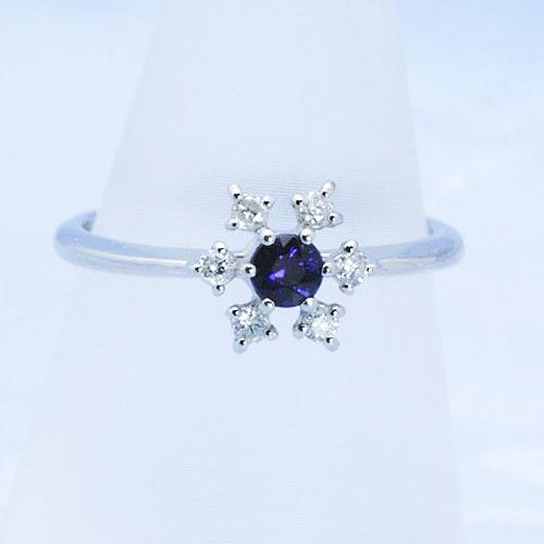 サファイヤ&ダイヤモンド 雪の結晶のデザインリング Pt900