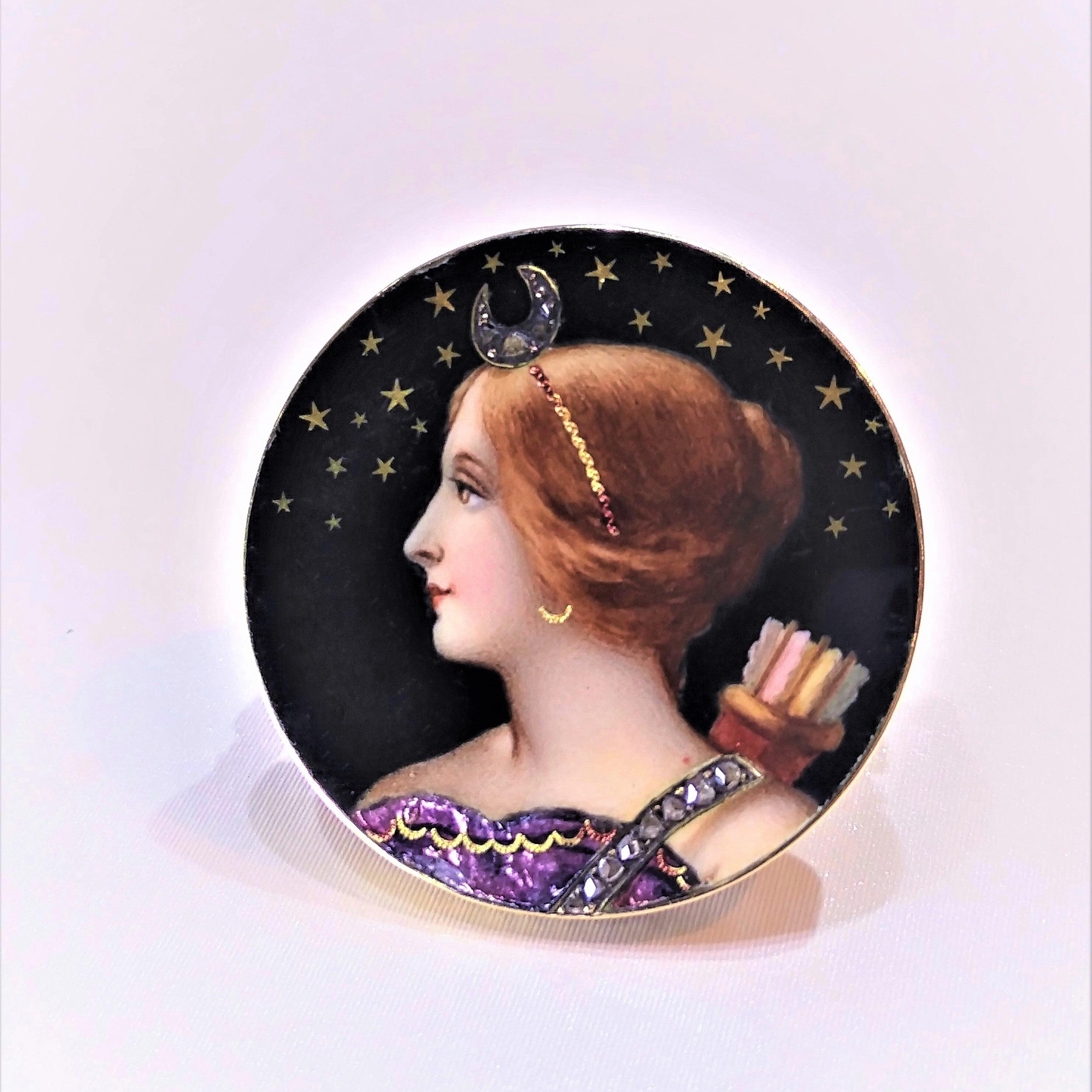 Diana (Artemis) Enamel Brooch  ダイアナ(アルテミス)エナメル ブローチ