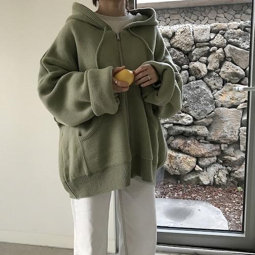 フード付 カーディガン GREEN グリーン 韓国ファッション レディース ニット アウター ジャケット 袖ボリューム パフ袖 長袖 DTC-602105464098