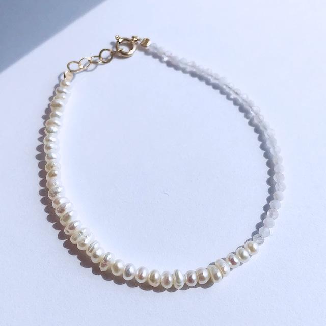 K10YG Morganite & Baroque Pearl Bracelet / チャリティージュエリー