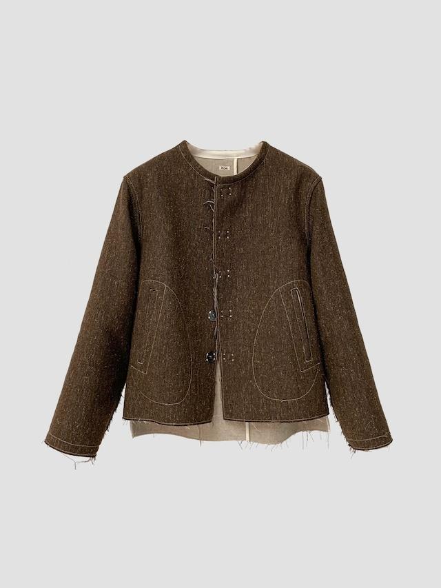 KHOKI H no collar jacket Brown 21aw-jk-06