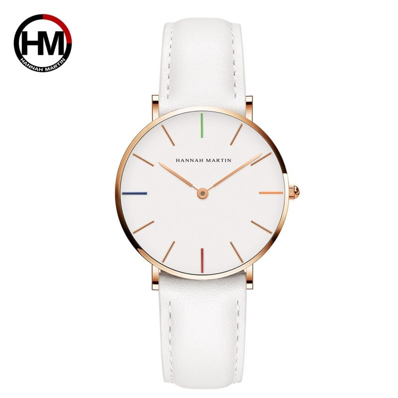 女性の時計クリエイティブトップブランド日本クォーツムーブメント時計ファッションシンプルな因果レザーストラップ女性の防水腕時計3690-B36-FB