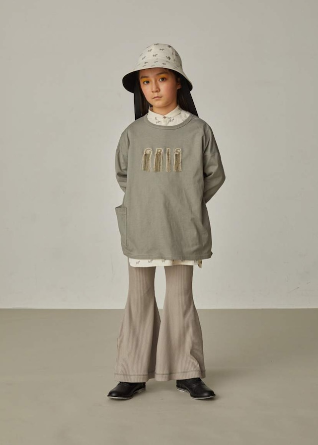 【21AW】GRIS ( グリ )Embroidery Three-quarter T Shirt[XS/S/M]Alpha Green 長袖Tシャツ