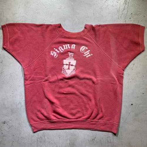 50's 60's UNKOWN 半袖ラグランスウェットシャツ Sigma Chi  シグマカイ フロッキープリント フラタニティー エンジ フェード  L位 希少 ヴィンテージ BA-1474 RM1843H