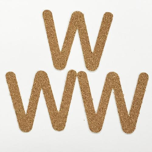 切り文字 A&Cペーパー コルク 粘着付 アルファベット「W」
