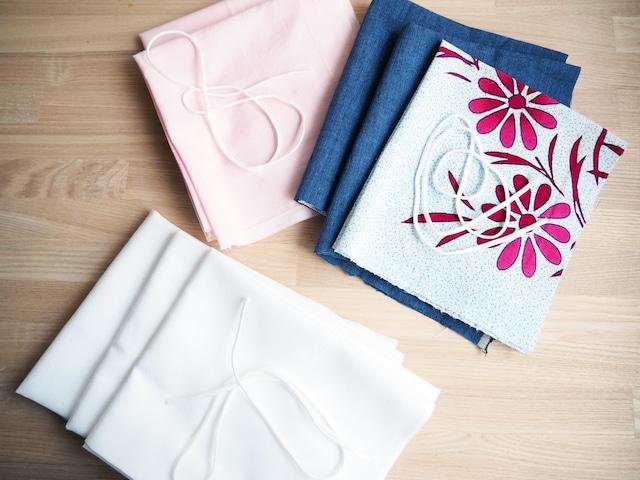 立体型布マスク 手作りキットレディース2枚分型紙とレシピ付(肌触りの良い白のさらし綿100%)