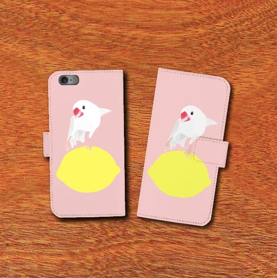 iPhone手帳型ケースamycco.×ことりちゃん 文鳥ちゃん(桃色)【各機種対応】