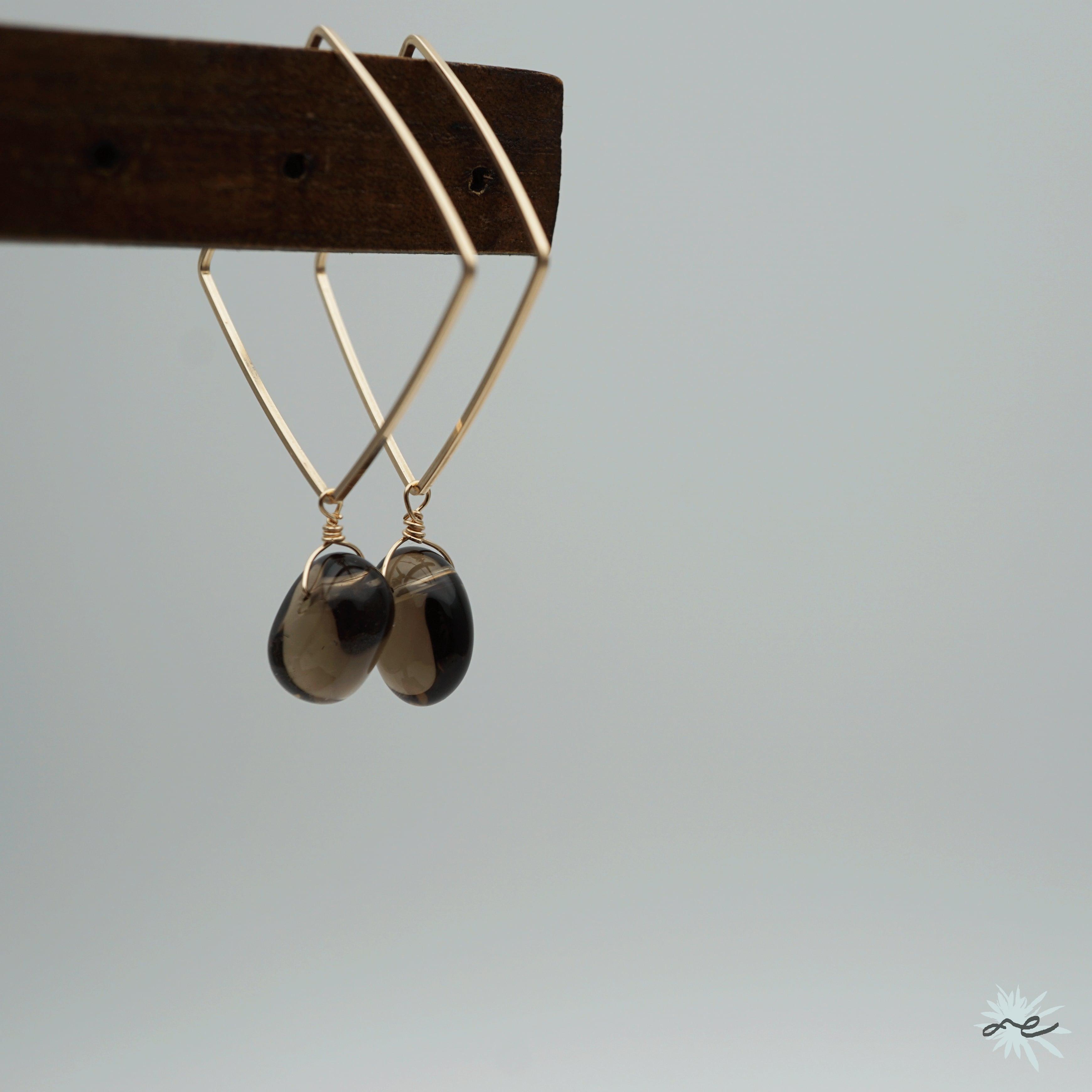 Square Hoop Earrings(Smoky quartz)/K14 gf
