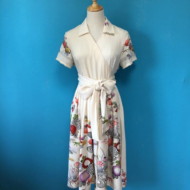 Vintage kimono dress/ US 8 white 訪問着