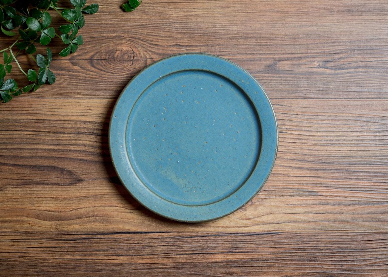 SHIROUMA 洋皿 18cm 青(中皿・パン皿・ケーキ皿)/長谷川 哲也