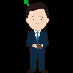 財布を持って疑問を持つ男性ビジネスマン