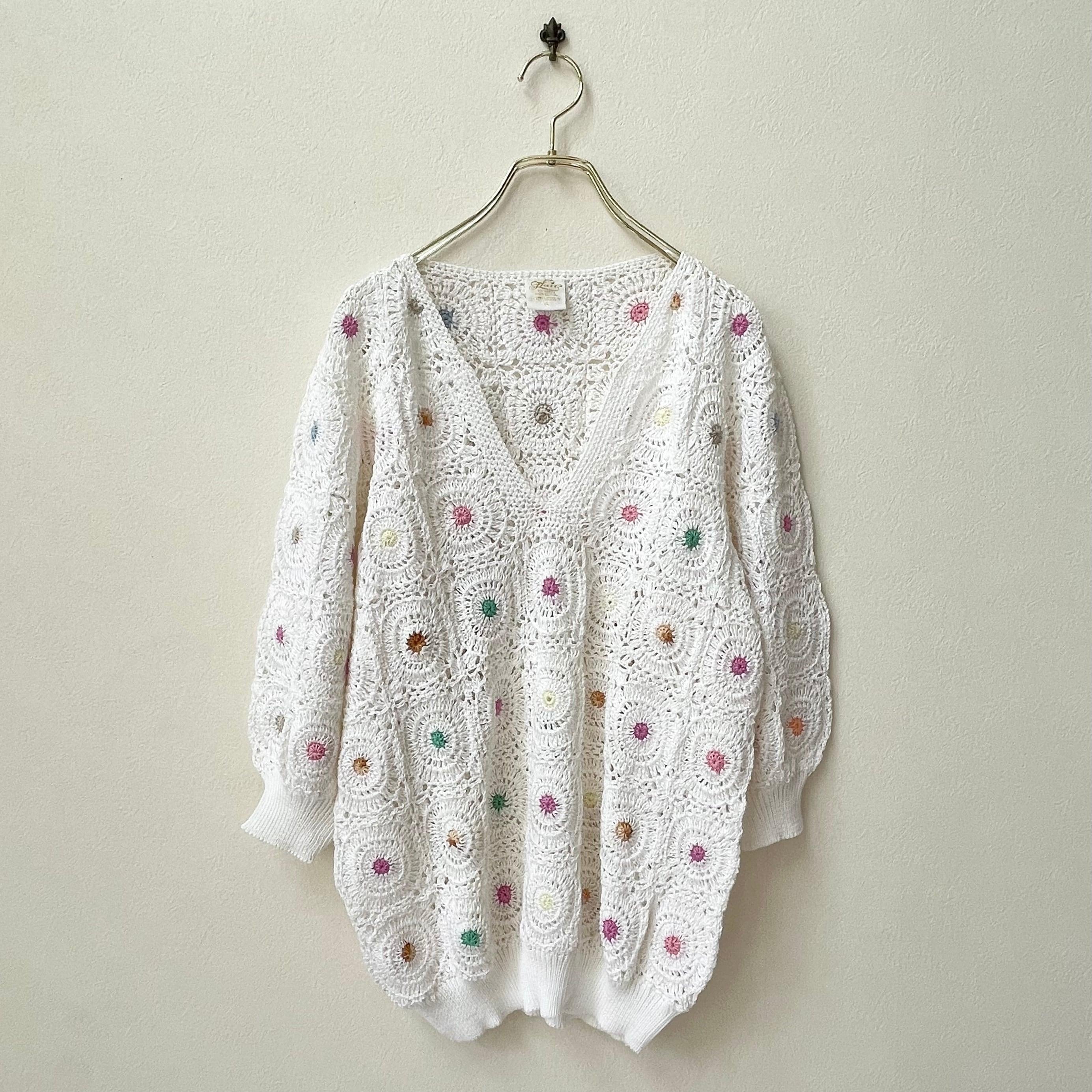 レディース ハンドメイド かぎ針編み ニット 80〜90年代 アメリカ古着 日本LL