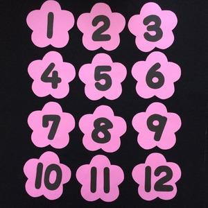 花の背景の数字(1~12)の壁面装飾