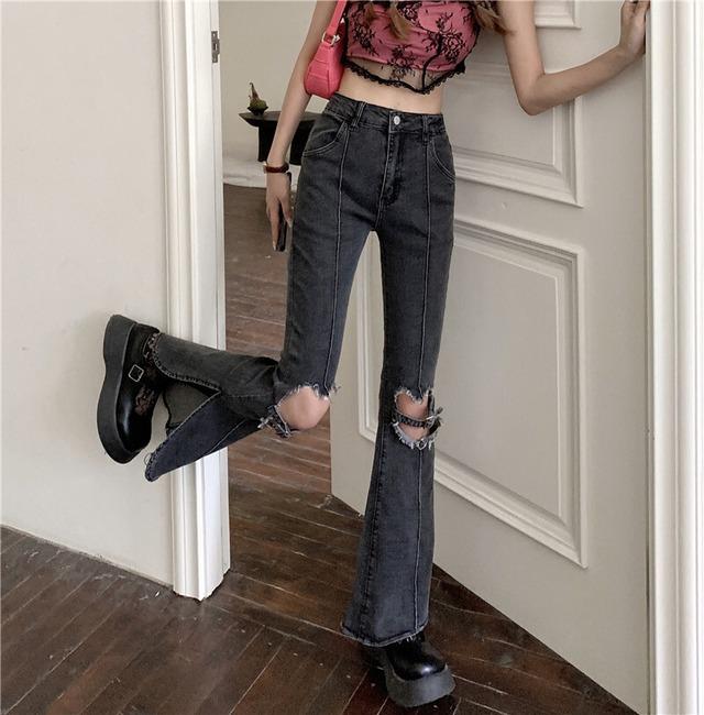 【ボトムス】セクシーキュート可愛いファッション設計感ありダメージ加工デニムパンツ48953701