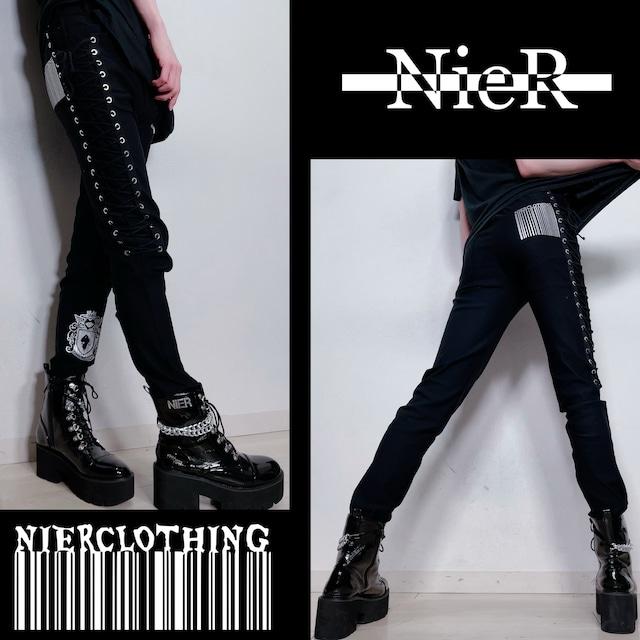 高品質STRETCH BLACK BRAID PANTS