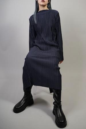 PLEATS LONG DRESS  (NAVY) 2109-23-75