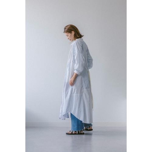 【RehersalL】stripe shirt patch onepiece(blue) /【リハーズオール】ストライプシャツパッチワンピース(ブルー)