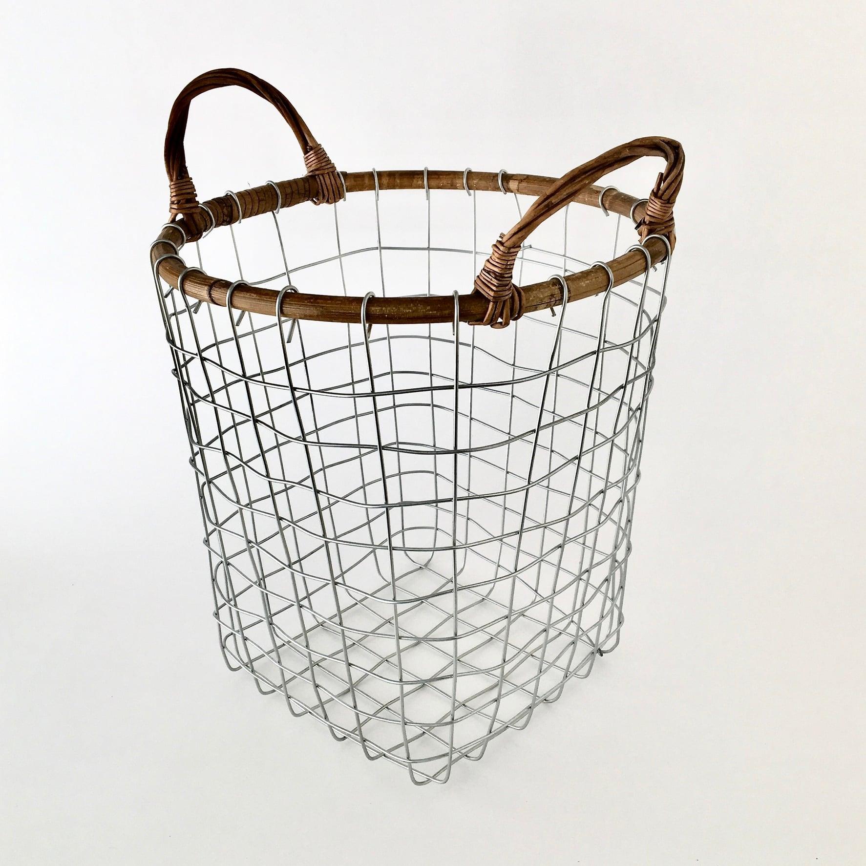 ラタントップ ワイヤーバスケット M|Rattan Top Wire Basket Medium(PUEBCO)