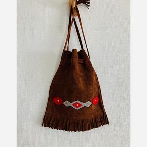 【送料無料】 90's Vintage purse leather hand bag Fringe patchwork
