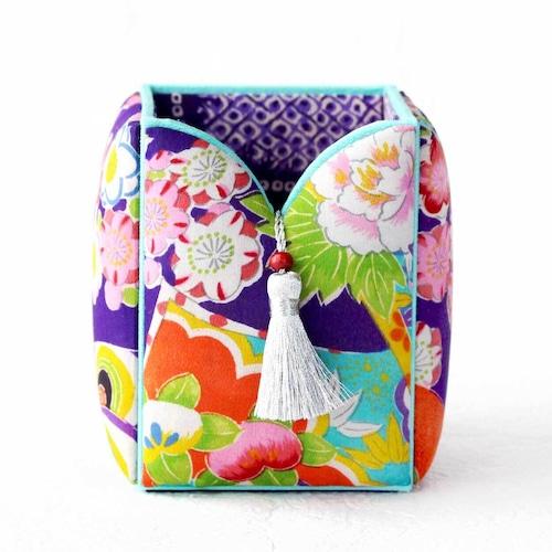 和風インテリア雑貨 ペン立て ブラシ入れ 小物入れ 紫 読本華紋様