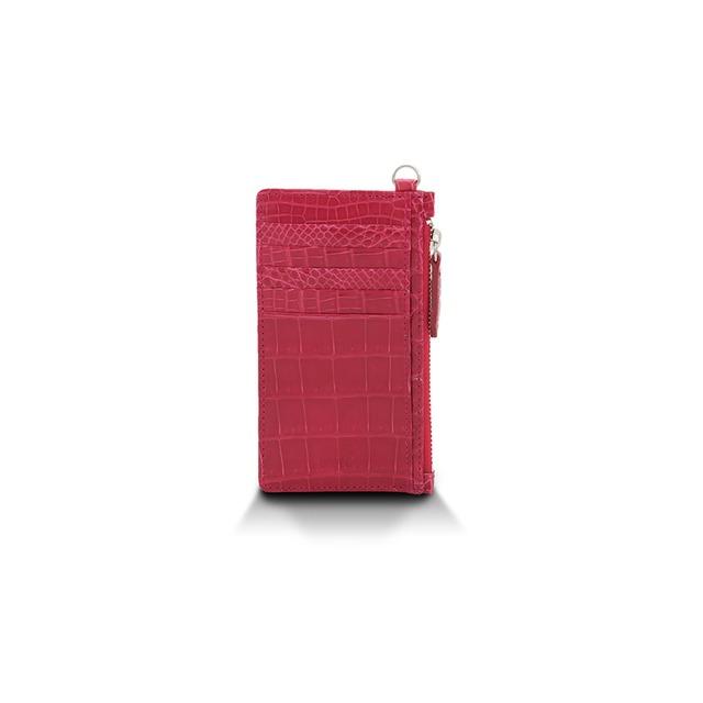 クロコダイル ツヤ カードケース ピンク