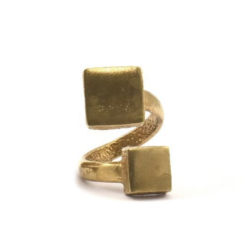 Raw brass Rings -  W Squareリング  RG-017