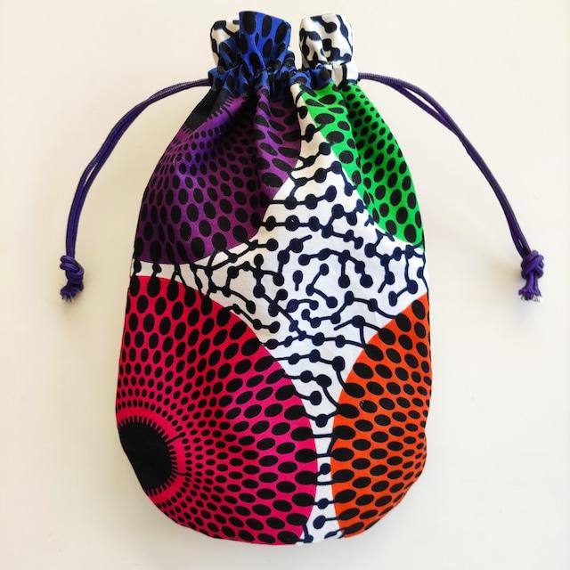 アフリカンファブリック お財布袋 波紋 巾着・アフリカンプリント