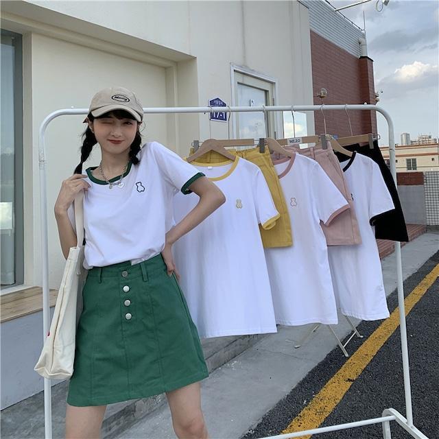 ベアワンポイントTシャツ+フロントボタンスカート  S4200