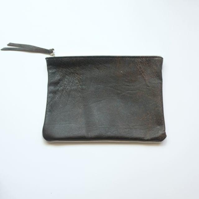 pouch L 40s european vintage leather jacket × vintage linen