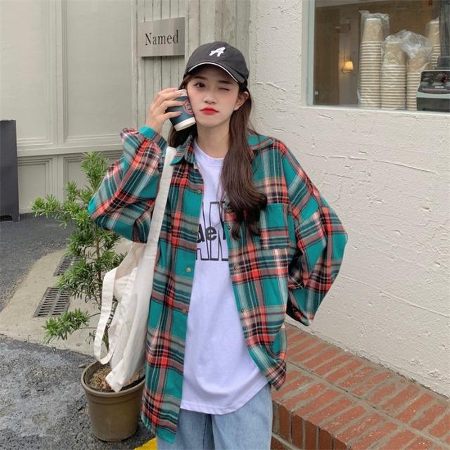 【トップス】レトロチェック柄長袖シングルブレストPOLOネックシャツ50797319