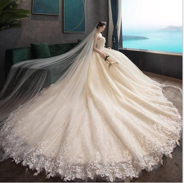ホワイト/シャンパン 背中編み上げタイプロングドレス
