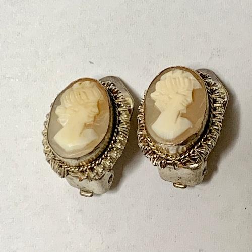 Vintage Shell Cameo 800 Silver Earrings