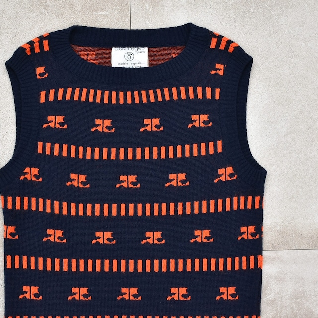 French vtg 70's Courreges knit vest