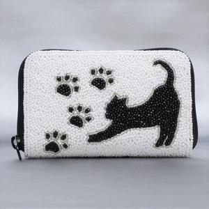ラウンド小財布 099 猫 ビーズ刺繍