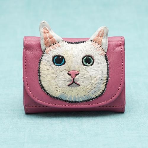 ねこミニ財布 white cat/PINK