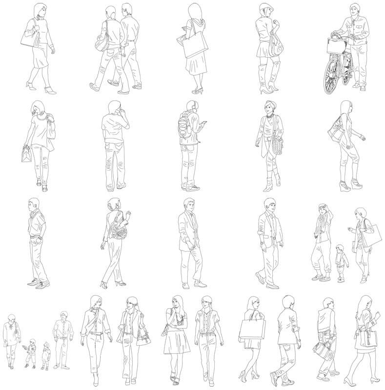 人物線画SketchUp素材 4up_line01_20_1 - 画像4