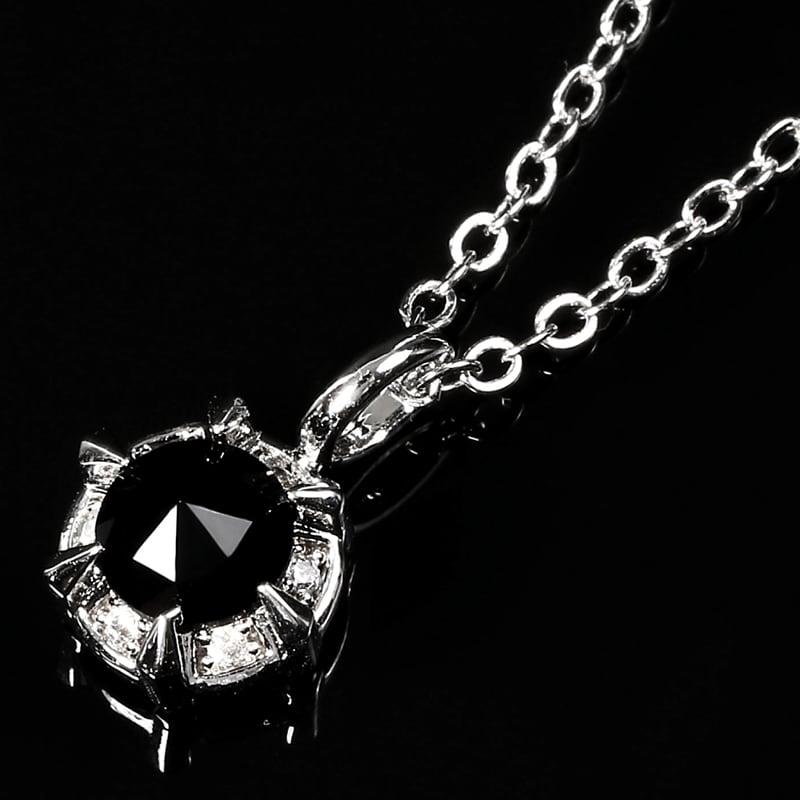 K18GP[ホワイトゴールド]ローズカット ブラックCZダイヤ チャーム