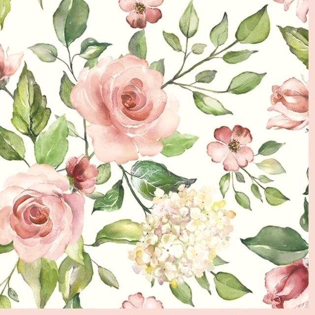 2021秋冬【Maki】バラ売り2枚 ランチサイズ ペーパーナプキン Watercolour Roses with Hydrangea ホワイト