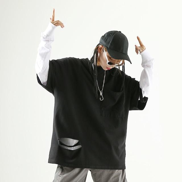 【トップス】ストリート系透かし彫りラウンドネック無地Tシャツ43008781