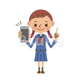 イラスト素材:スマホを持つ女子中学生・高校生(ベクター・JPG)