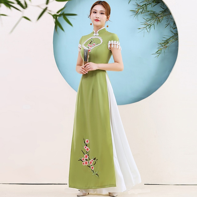 アオザイ 民族風 ロングドレス ワンピース 花嫁 S~5L 舞台衣装 撮影 グリーン 緑 フリンジ 大きいサイズ