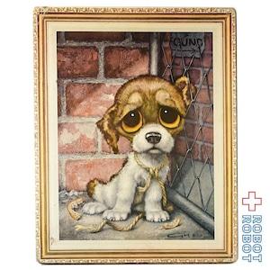 ビッグアイズ プリント絵 レンガ塀の前の犬