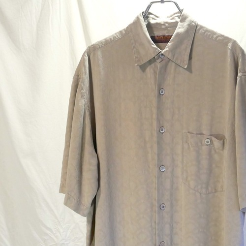【USED】ベージュ 織り柄 半袖 シルクシャツ