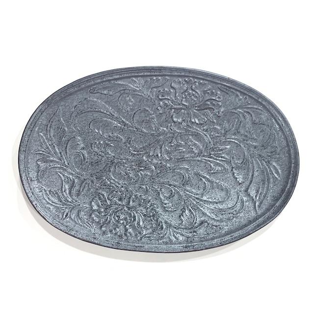 ショウ  花唐草彫楕円皿 30cm