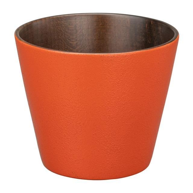 山中漆器 白鷺木工 そば猪口 約8cm sibo さくら 黒×オレンジ  381083