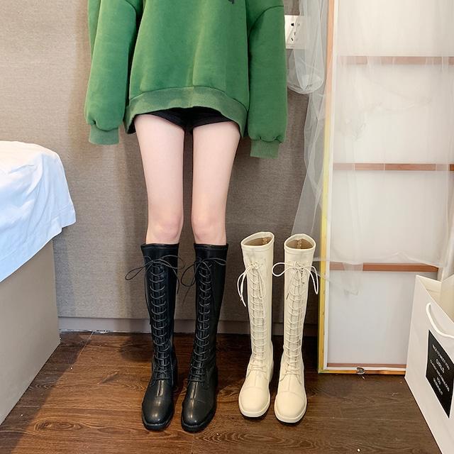 【シューズ】カジュアル切り替えミドルヒール防水丸ロング丈ブーツ38437701