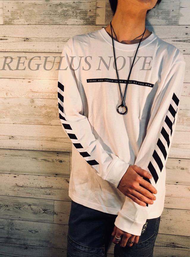 スリーブプリントロンT WHITE ユニセックス レディース メンズ ロンT 袖プリント