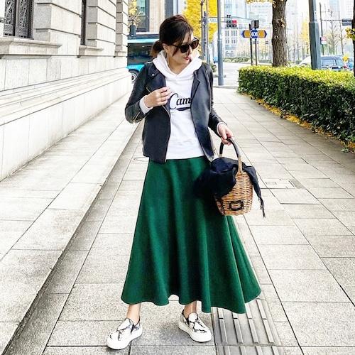 KU-UM×chiyo アシンメトリーポンチスカート グリーン